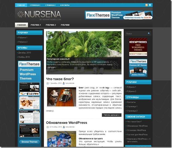 WordPress шаблон NURSENA